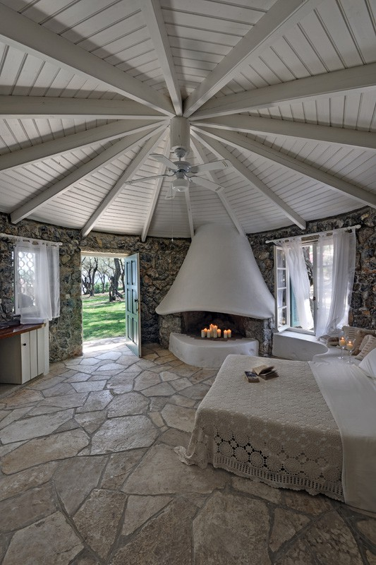 Rundhaus Schlafzimmer - Korfu Luxusresort Villen Aphrodite, Agia Pelagia, Korfu