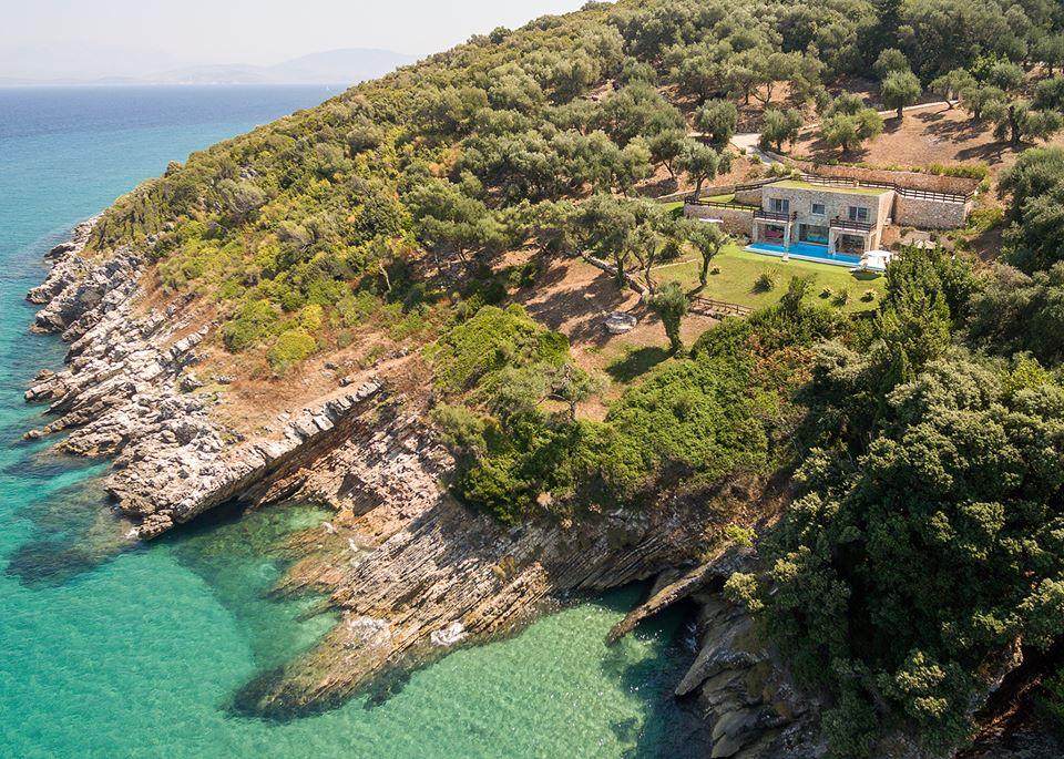 Luftaufnahme - Korfu Villa Steilküste, Agios Spiridon, Korfu, Griechenland
