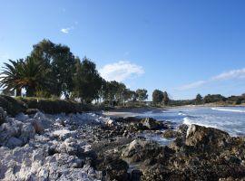Strand von Agios Spiridon, Korfu, Griechenland, in der Nähe der Korfu Ferienwohnungen Villa Amalia, Acharavi, KorfuCorfu.de